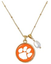 Clemson Tigers Diana Gold and Pearl Saturn Style Necklace Jewelry Gift O... - $16.82