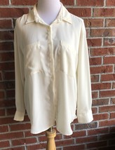 Forever 21 Ivory Long Sleeve Hi - Lo Button Down Oversized Top - Juniors Size S