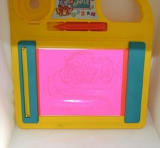 Vintage Unimax Toys LTD Doodle Pad Glowing Hot Pink Red Pen Note Book Wr... - $34.50