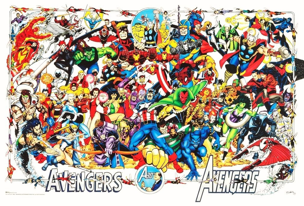 "Marvel Comics 20 x 30 Reproduction ""AVENGERS 30th Anniversary Poster"""