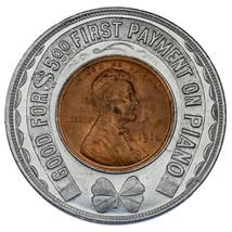 1910 1C Lincoln Cent Encased in Token Choice BU Condition, Full Original... - $148.76
