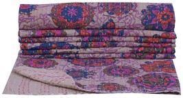 Floral Print Bedspread Cotton Twin Kantha Quilt Indian Bedding Throw Bed... - $41.57