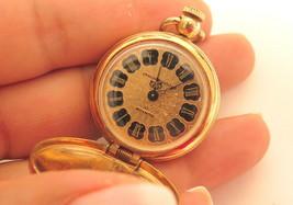 Vintage CLINTON Pocket Watch Gold Plated Necklace*Shock Resistant*Roman ... - $22.72