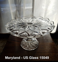 """EAPG Salver 8"""" D x 5"""" T MARYLAND US Glass 15049 Mini Cake Stand Clear c1... - $33.00"""