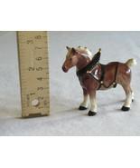 Chipped Ear Hagen Renaker Mini Draft Horse in Harness Horse Figurine Gol... - $14.99