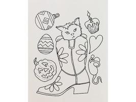Terry Medaris Art Stamps-Cat in Boot-Unmounted Rubber Stamps, Set of 7 image 2