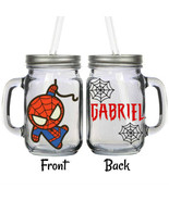 Personalized Chibi Kawaii Spiderman 16oz Glass Mason Jar Mug with Lid & ... - $16.99