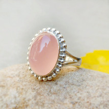 Rose Quartz Ring, Cabochon Ring, Sterling Silver Ring Pink Rose Ring, Women's Je - $34.55