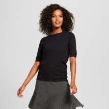 Women's Who What Wear Elbow Sleeve Button Back Sweater Black Size: XS, S... - $7.99