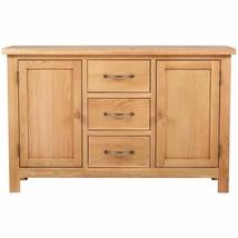 vidaXL Solid Oak Sideboard w/ 3 Drawers 2 Doors Side Storage Cabinet Cupboard image 2