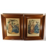 Pair of Matching Colored Godey Fashion Prints Shadow Box Frames  Mid 19t... - $119.00