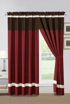 4-Pc Archer Pleated Stripe Curtain Set Burgundy Brown Ivory Valance Drape Sheer - $40.89