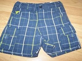 Infant Size 18 Months Blue Green Gray Plaid Cargo Shorts Horse Logo NWOT  - $10.00