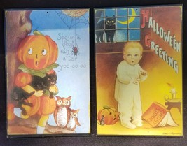 """Two 5"""" X 8"""" Wood Rectangle Halloween Vintage Image Wall Plaques - $13.00"""
