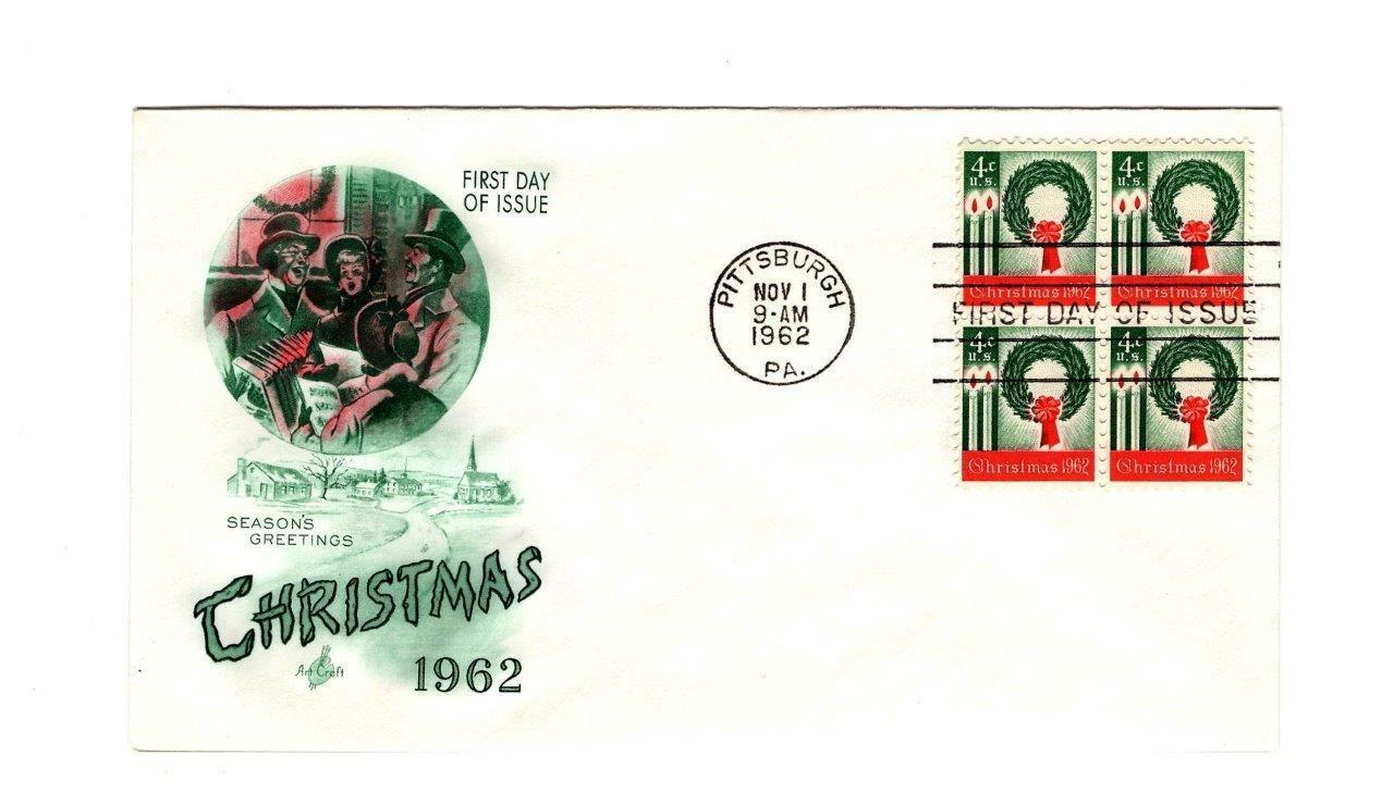 FDC ENVELOPE- FIRST US STAMP HONORING THE CHRISTMAS SEASON  BL4- 1962 BK12