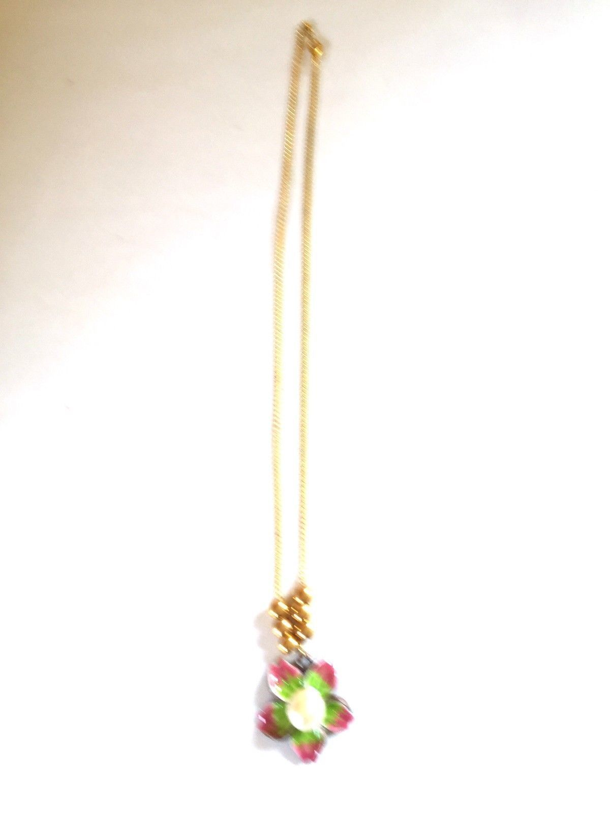 Enamel Flower Charm Necklace 17 inches Goldtone with Ball Accents image 2