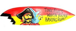 """39"""" Hand Carved """"TIME FLIES WHEN HAVING RUM"""" Surfboard Wooden Wall Hangi... - $34.59"""
