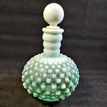 Vintage Anchor Hocking Blue/Green Opalescent Barber Bottle w/ Original S... - $15.63