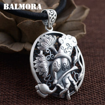 BALMORA 100% 990 Pure Silver Vintage Hand and Flower Pendants for Women Men Gift - $23.84+