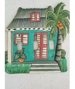 Painted Metal Triple Light Switch Plate Cover Tropical House With Palm Tree - $11.13