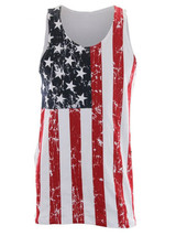 USA AMERICAN FLAG Mens Adult Distressed Tank Top Stars And Stripes New S... - €10,45 EUR+