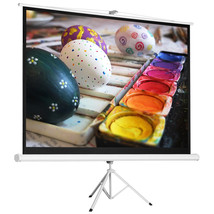 "100"" 4:3 HD Foldable Tripod Stand Projector Screen Home Pull Up Matte White - $53.99"