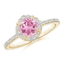 Vintage Style Claw-Set Round Natural Pink Tourmaline Diamond Engagement ... - $810.56+