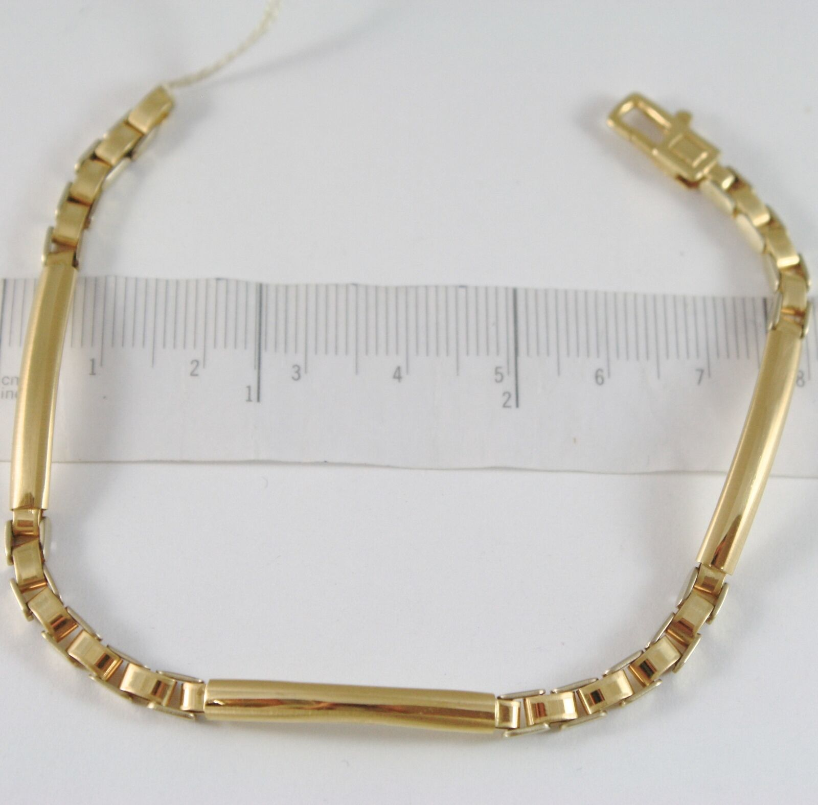 Bracelet Yellow Gold 750 18K, Three Plates Incision and Crawler, Long 20.5 CM