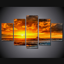 5 Pcs Sea Sunset Landscape Home Decor Wall Picture Printed Canvas Painting - $45.99+