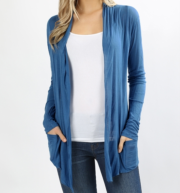 Blue Open Front Flyaway Cardigan, Lightweight Rayon Layering Sweater, Womens, M