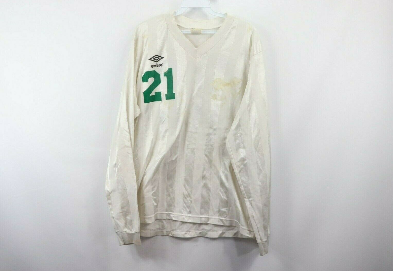 30c8c349725 Vtg 80s Umbro Mens Large Spell Out Striped Long Sleeve Futbol Soccer Jersey  -  23.71