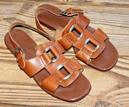 Timberland Size 7 M Women's Brown Leather Sandals Ankle Strap w Hardware - $23.74