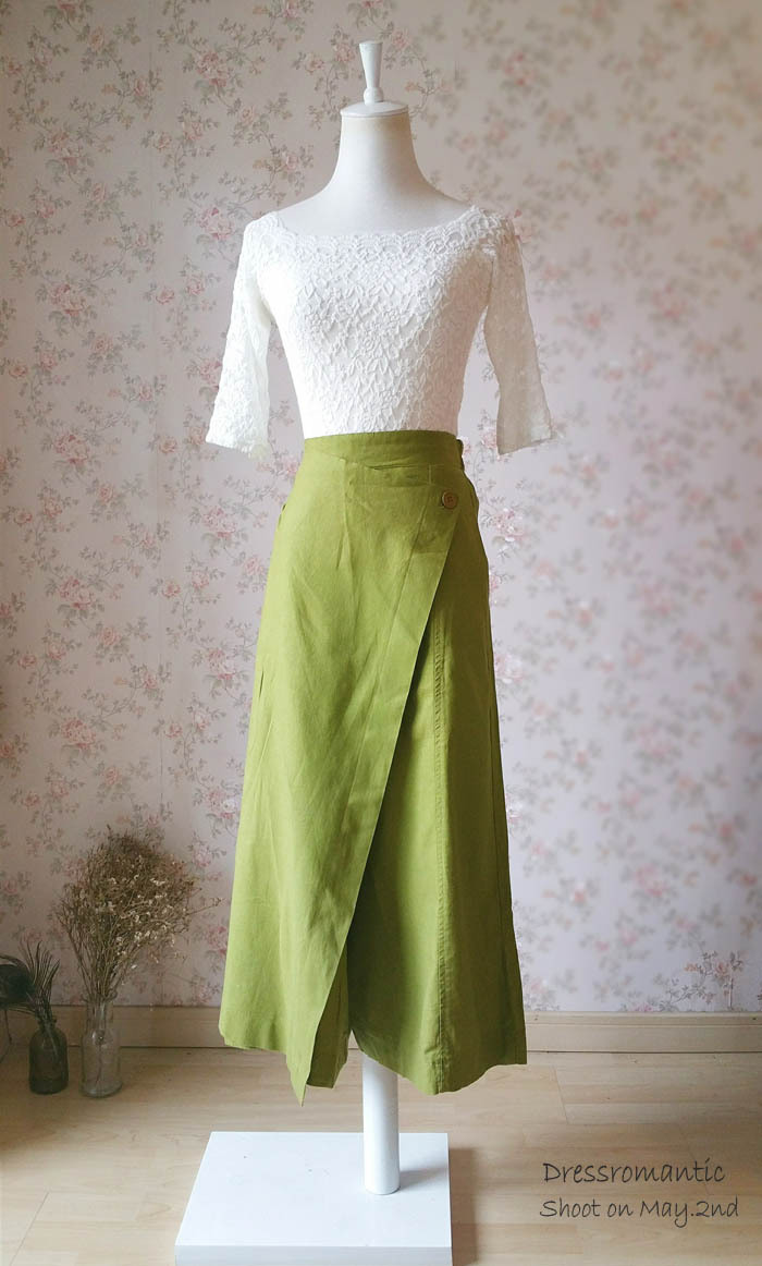 OLIVE GREEN Long Pants Wide Leg Linen Pants Women Wrap Pants Wide Leg Trousers