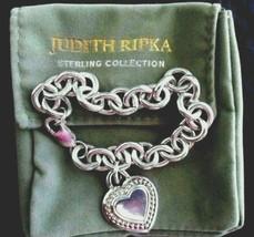 "JUDITH RIPKA Sterling Silver Heart Pendant Country Link Bracelet 7.5"" w ... - $84.95"