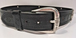 Brighton Women's Black Leather Belt with Flower Print Detailing Size Med... - $40.73