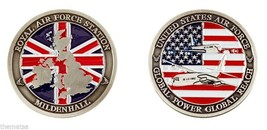 RAF MILDENHALL ROYAL AIR FORCE STATION  USA UK FLAG MILITARY CHALLENGE COIN - $16.24