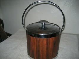 Vintage Serv-Masters Creations Retro Silver Brown wood grain Cocktail Ic... - $24.74