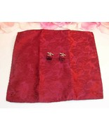 Burgandy Paisley Print Pocket Square and Matching Cuff Links In same fabric - $8.99