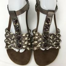 Easy Spirit Eshattie Size 11 Brown  Sandals Leather TStrap  Embellished - $40.29 CAD