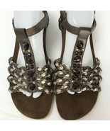Easy Spirit Eshattie Size 11 Brown  Sandals Leather TStrap  Embellished - $29.69