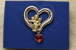 2005 Avon Cherub in Heart Pin Dangle Heart Red Love - $9.89