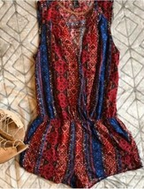 Forever 21 Aztec Tribal Geo Print Surplice Tank Top Romper One Piece Red Blue S - $6.53