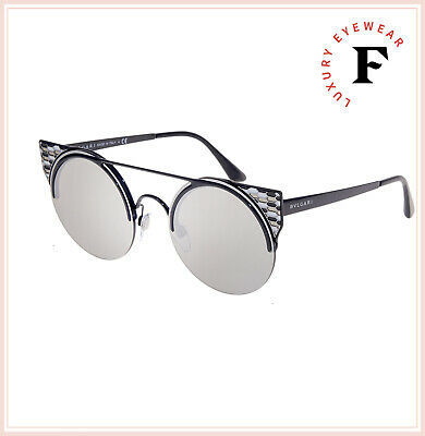 BVLGARI SERPENTEYES BV6088 Black Silver Mirrored Metal Flat Sunglasses 6088