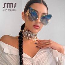 Sen Maries Butterfly Rimless Sunglasses Women Luxury Brand Designer Fashion Over