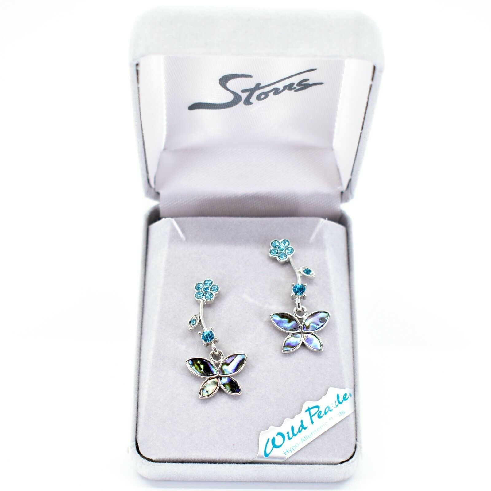 A.T. Storrs Wilde Pearle Abalone Shell Pave Crystal Flowers & Butterfly Earrings