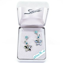 A.T. Storrs Wild Pearle Abalone Shell Pave Crystal Flowers & Butterfly Earrings image 1