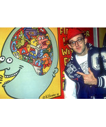 Keith Haring Pointing to One of His Paintings, an Archival Print - $719.95+