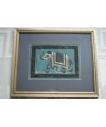ORIGINAL ART FRAMED MUGHAL PERSIAN SILK INK PAINTING NEPAL PRINCE ELEPHA... - $161.49