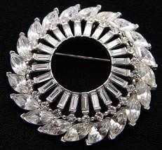 VTG 1930-40s CROWN TRIFARI Silver Tone Clear Rhinestone Large Wreath Pin Brooch - $173.25