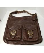 COACH BLEECKER ELISA 11447 Slim Leather Lace Duffle Shoulder bag WALNUT  - $346.50
